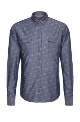 Slim-fit overhemd van katoen met dessin: 'EdoslimE', Donkerblauw