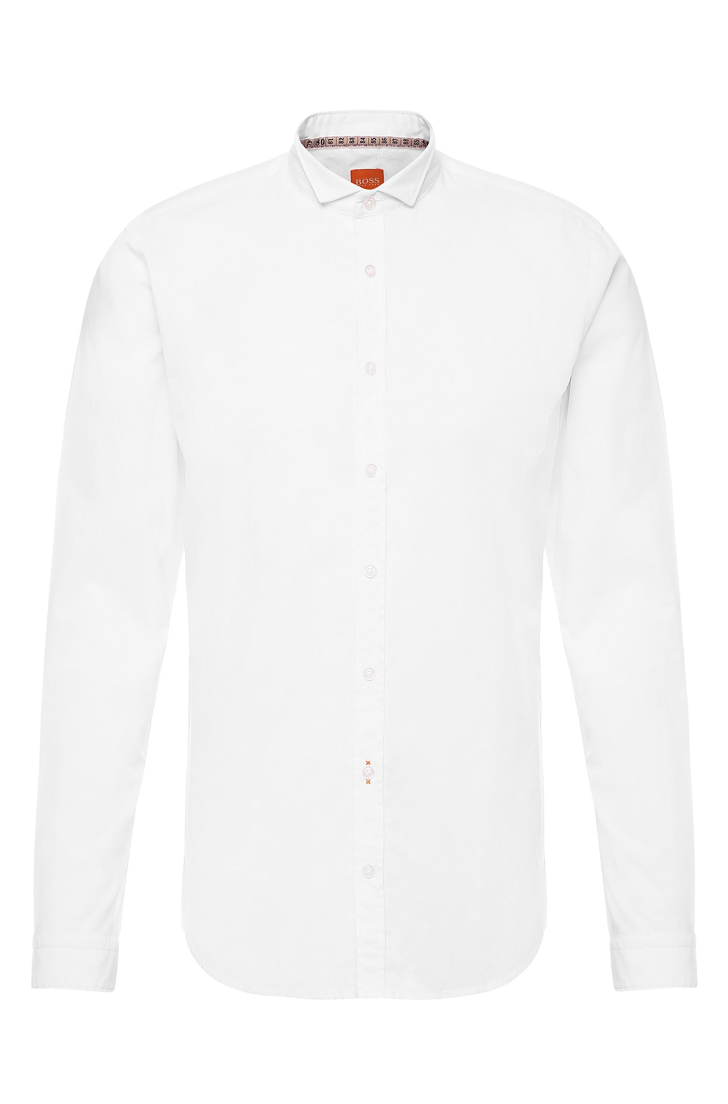 Plain slim-fit cotton shirt: 'EparrotE'