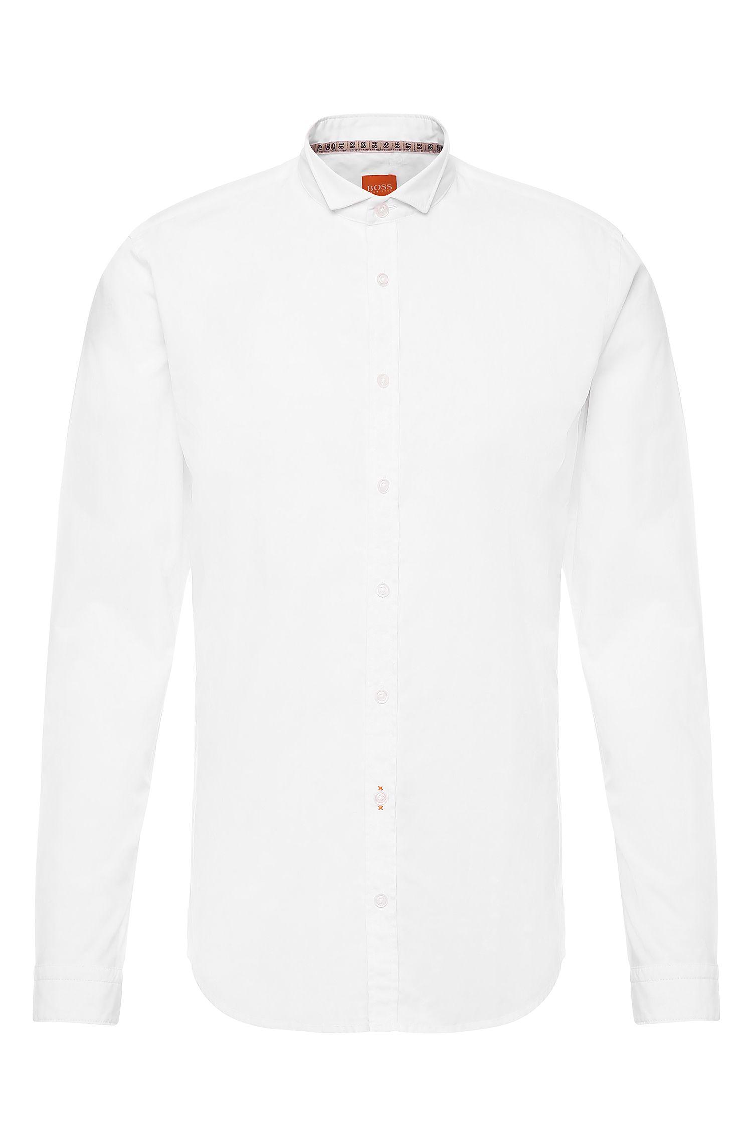 Effen slim-fit overhemd van katoen: 'EparrotE'