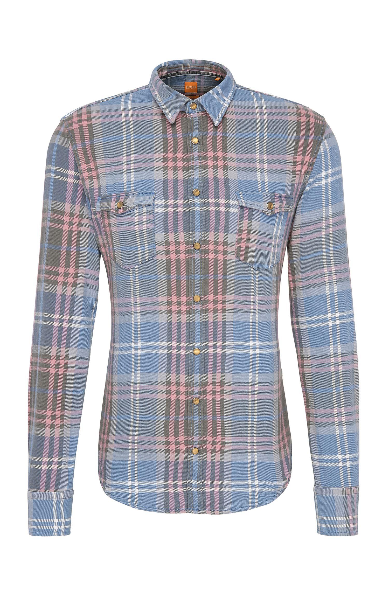 Slim-Fit Baumwollhemd mit Karo-Muster: ´EdoslimE`