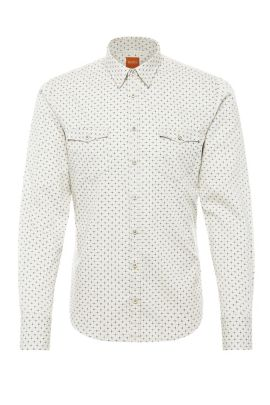Patterned slim-fit shirt in cotton: 'EdoslimE', Natural
