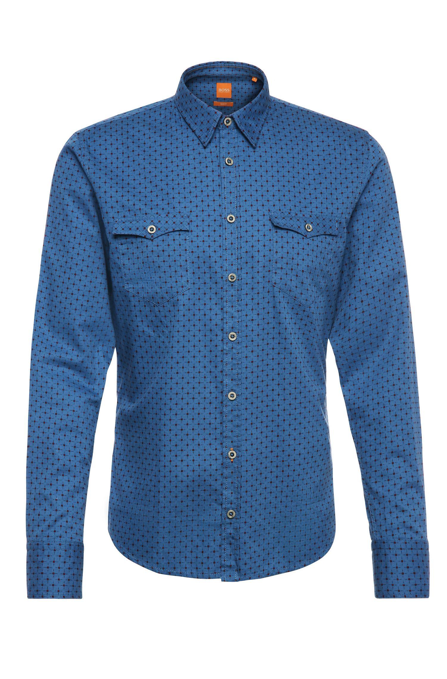 Slim-fit overhemd van katoen met dessin: 'EdoslimE'