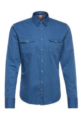 Slim-fit overhemd van katoen met dessin: 'EdoslimE', Lichtblauw