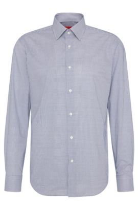 Kariertes Regular-Fit Hemd aus Baumwolle: 'C-Enzo', Dunkelblau