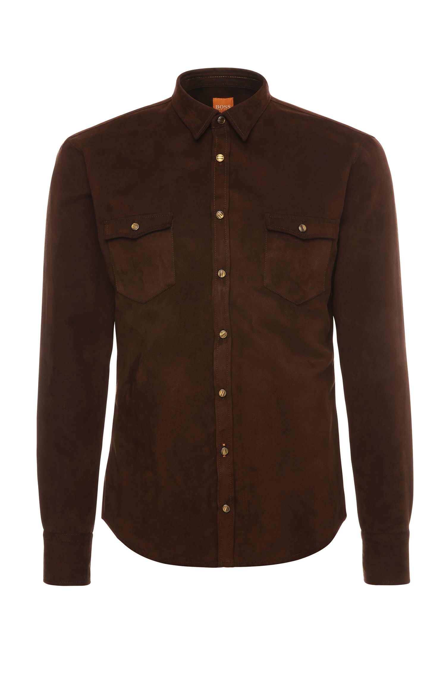 Slim-fit shirt in suede look: 'EdoslimE'