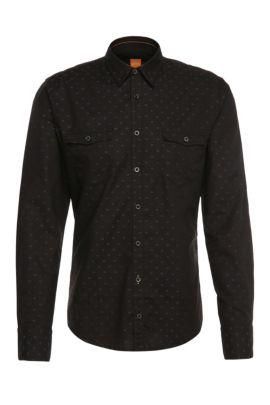 Chemise Slim Fit à motif en coton: «EdoslimE», Noir
