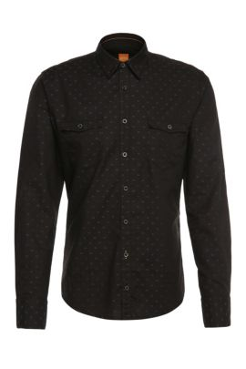 Patterned slim-fit shirt in cotton: 'EdoslimE', Black