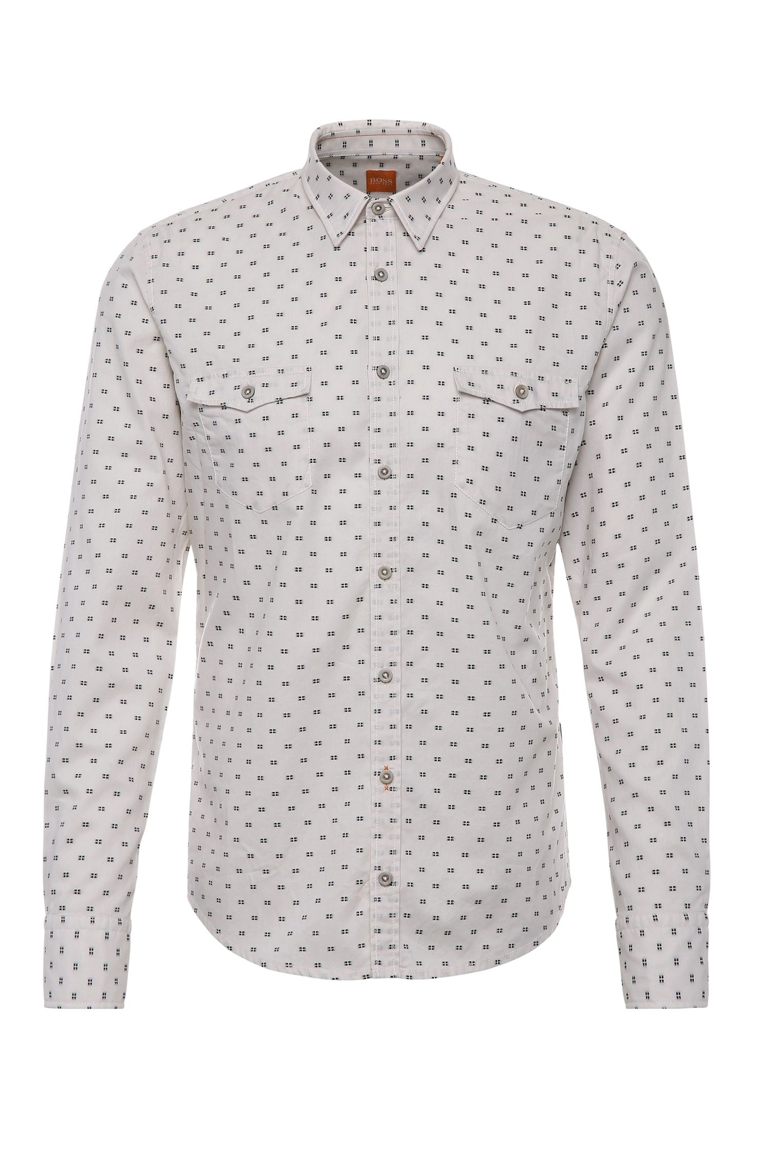 Patterned slim-fit shirt in cotton: 'EdoslimE'