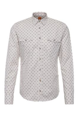 Patterned slim-fit shirt in cotton: 'EdoslimE', White