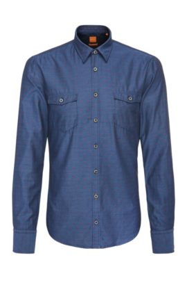 Patterned slim-fit shirt in cotton: 'EdoslimE', Dark Blue