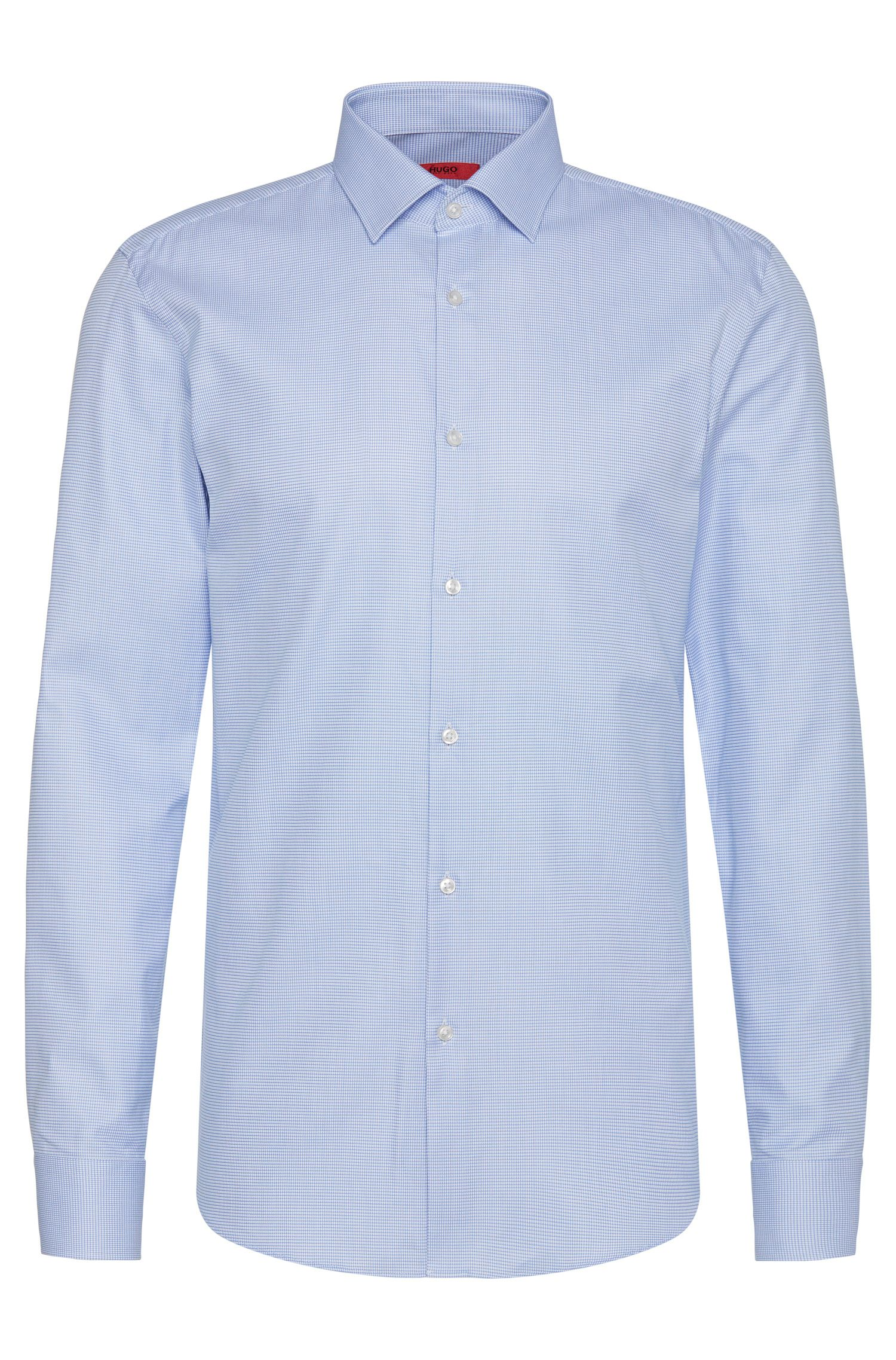 Fijngeruit slim-fit overhemd van katoen: 'C-Jenno'