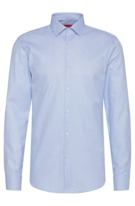 Finely checked slim-fit shirt in cotton: 'C-Jenno', Light Blue