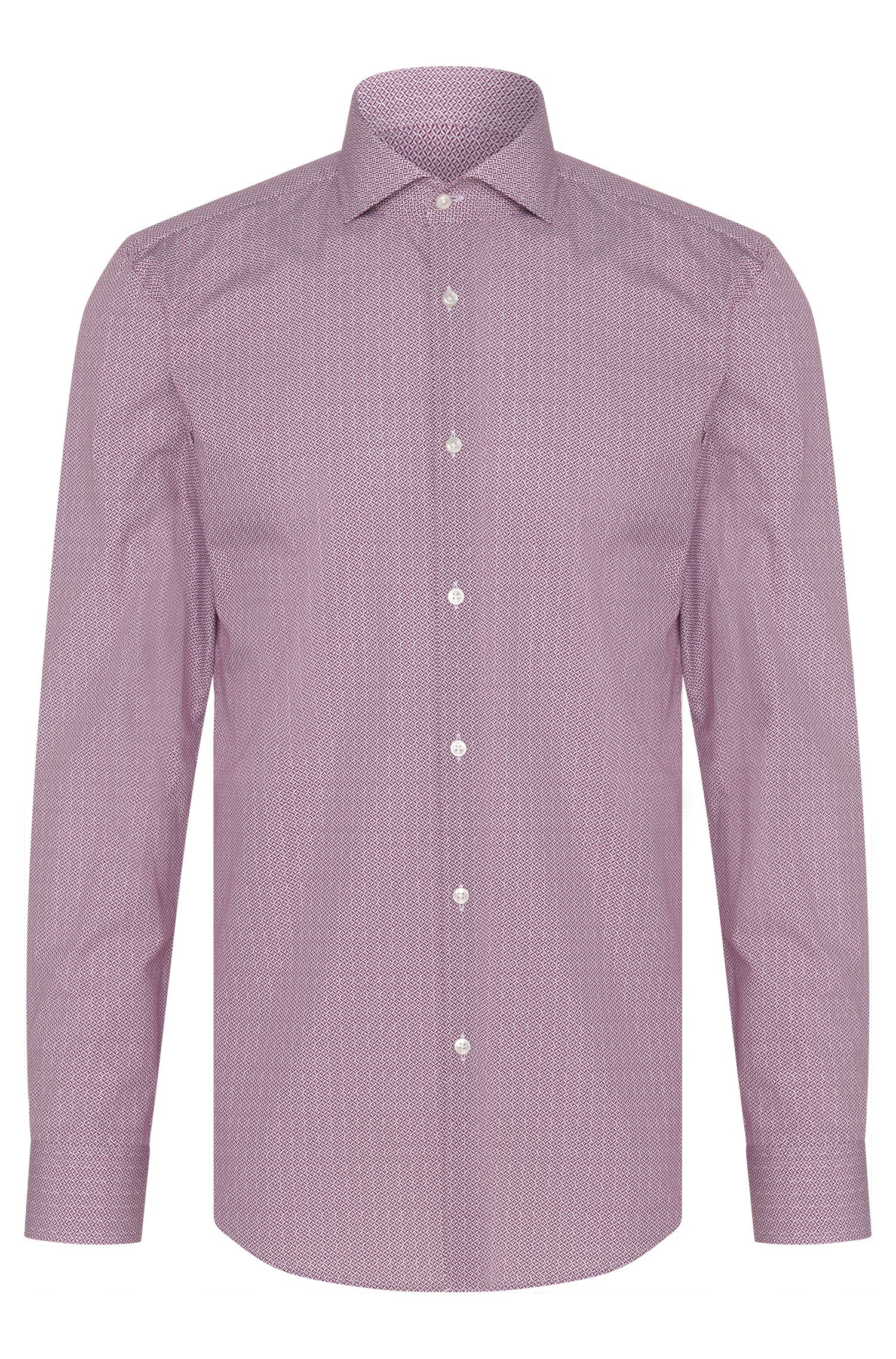 Camicia slim fit in cotone con motivo all-over: 'C-Jason'