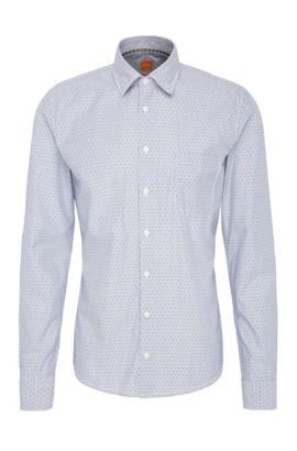 Striped slim-fit shirt in cotton: 'EnameE_1', Dark Blue