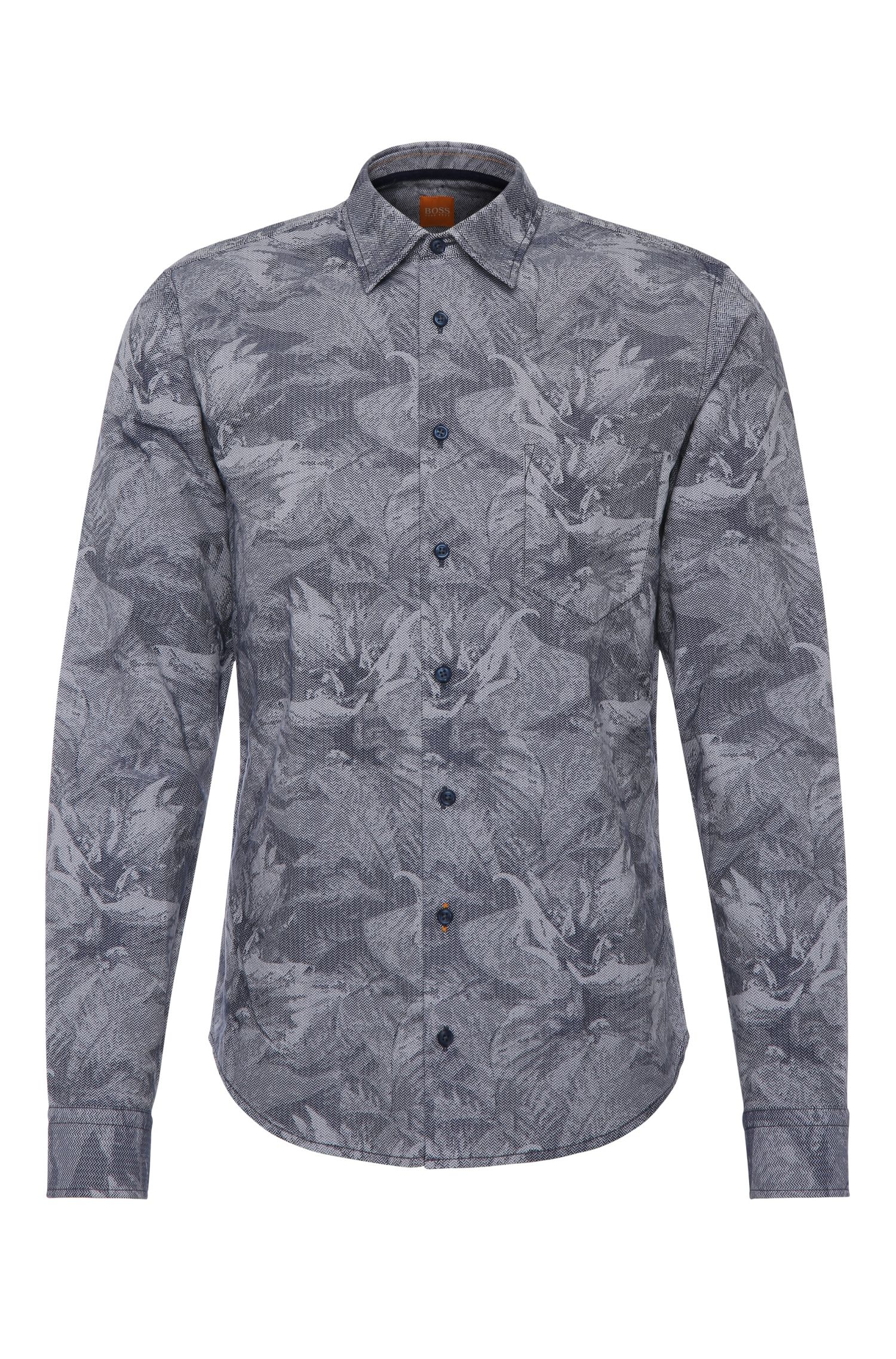 Slim-fit cotton shirt with all-over print: 'EnameE1'