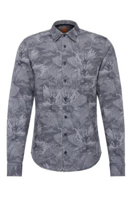Slim-fit cotton shirt with all-over print: 'EnameE1', Dark Blue