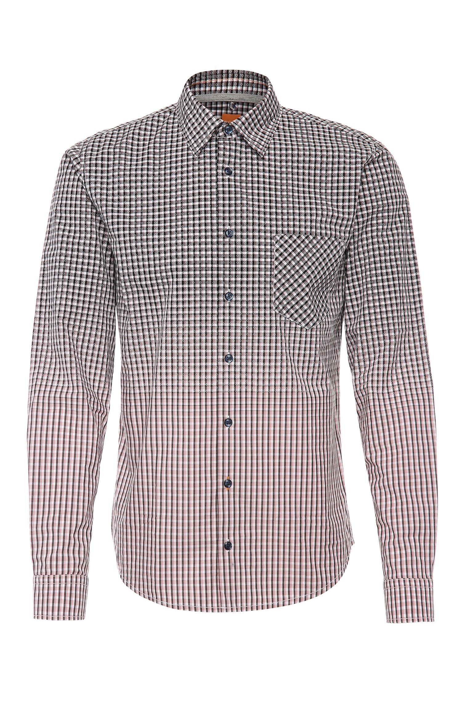 Chemise à carreaux Slim Fit en coton, à la finition dégradée: «EnameE1»