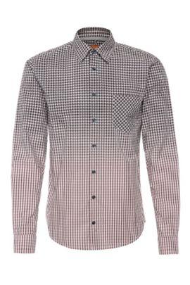 Chemise à carreaux Slim Fit en coton, à la finition dégradée: «EnameE1», Rose clair