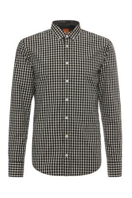 Slim-Fit Hemd aus Baumwolle mit Karos: ´EdipoE`, Natur