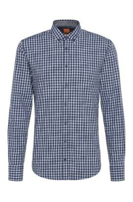 Slim-fit shirt in cotton with checks: 'EdipoE', Light Blue