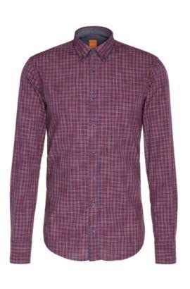 Chemise Slim Fit en coton à carreaux: «EdipoE», Rouge