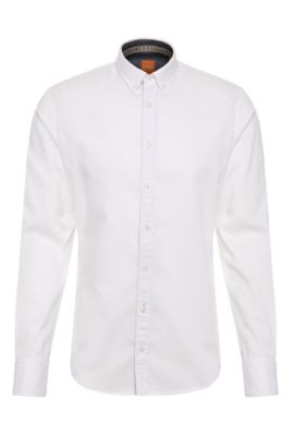Textured slim-fit shirt in cotton: 'EdipoE', White