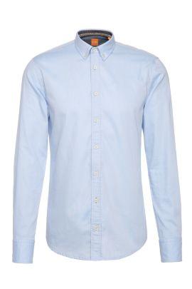 Camisa slim fit en algodón con textura: 'EdipoE', Azul oscuro