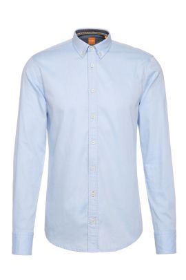 Textured slim-fit shirt in cotton: 'EdipoE', Open Blue