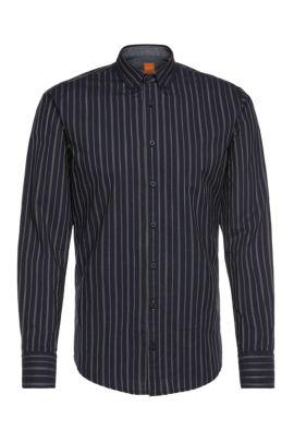 Slim-fit overhemd van gestructureerde katoen: 'EdipoE', Donkerblauw