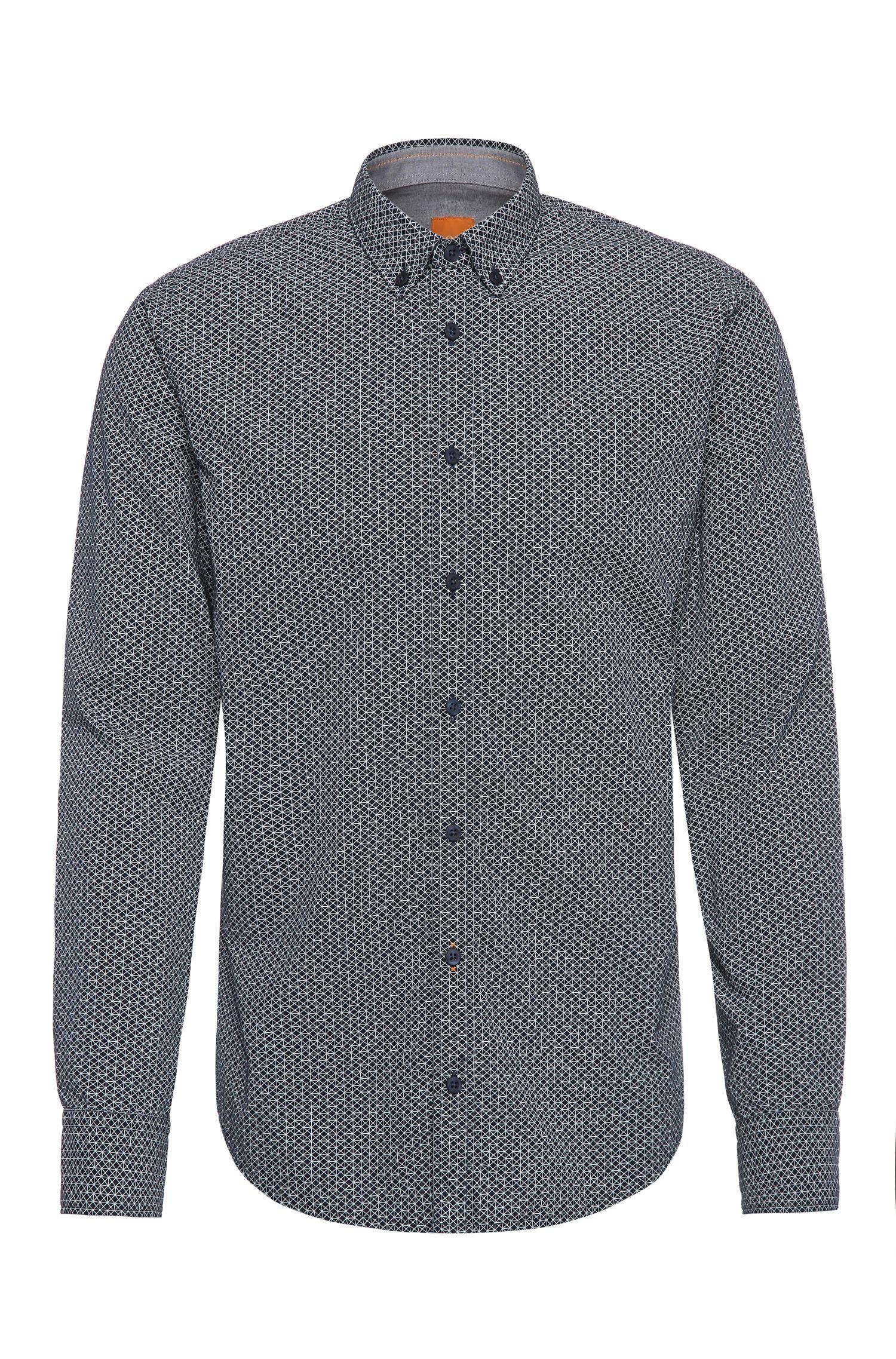 Slim-fit overhemd van katoen met dessin: 'EdipoE'