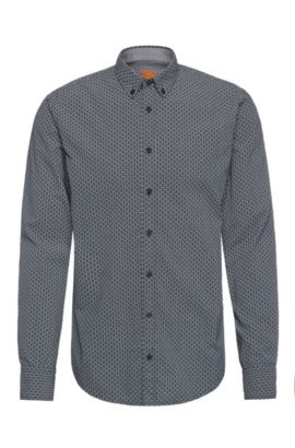 Patterned slim-fit shirt in cotton: 'EdipoE', Dark Blue