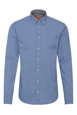 Slim-fit overhemd van katoen met dessin: 'EdipoE', Lichtblauw