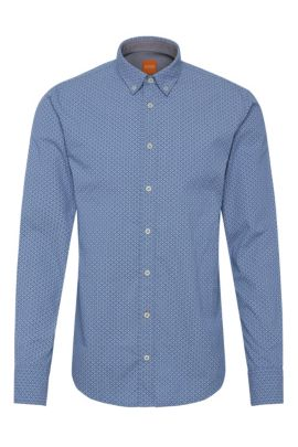 Chemise Slim Fit à motif en coton: «EdipoE», Bleu vif