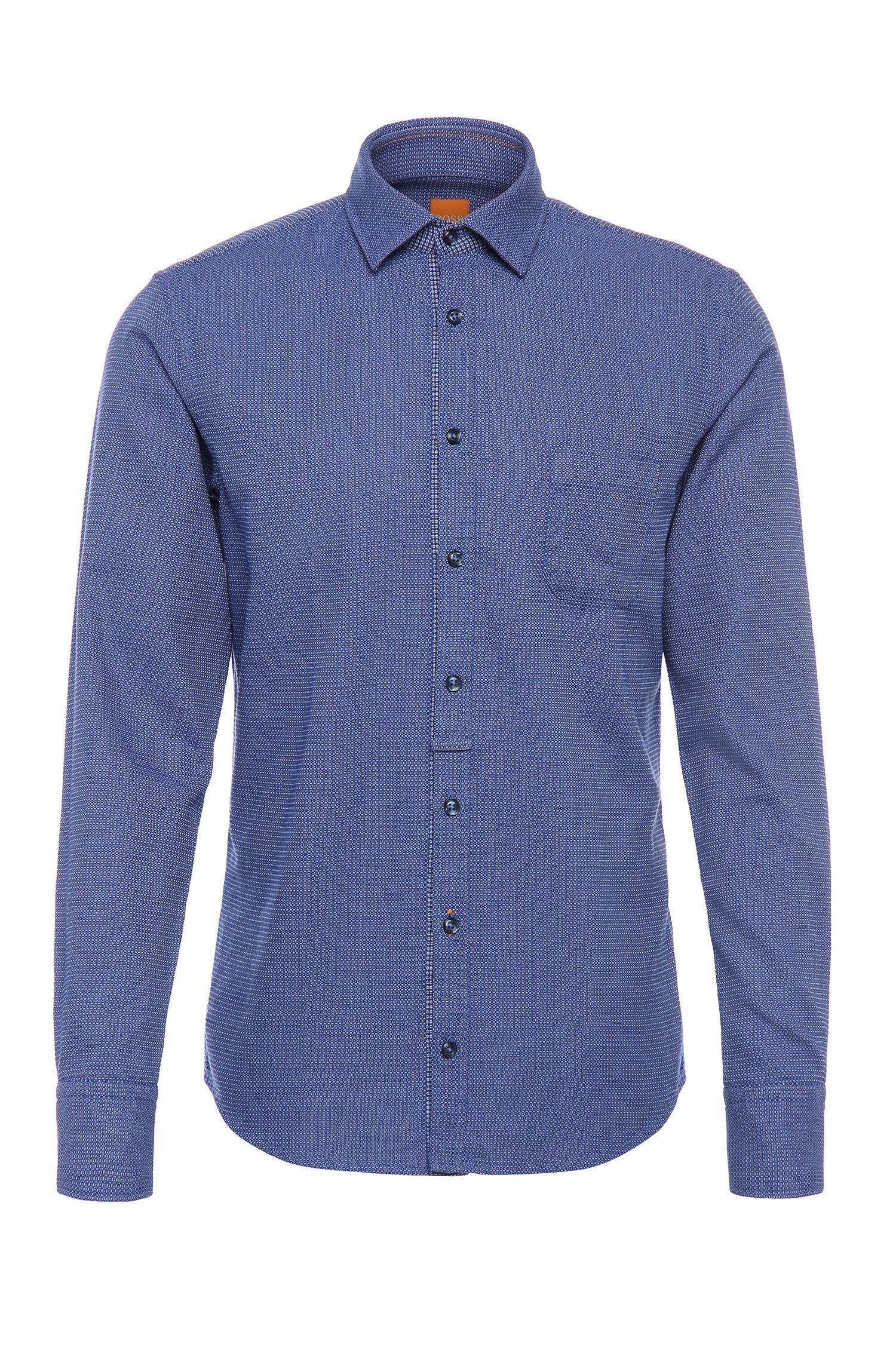 Slim-fit overhemd van katoen met een fijn dessin: 'EslimE1'