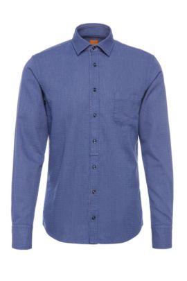 Fein gemustertes Slim-Fit Hemd aus Baumwolle: ´EslimE1`, Dunkelblau
