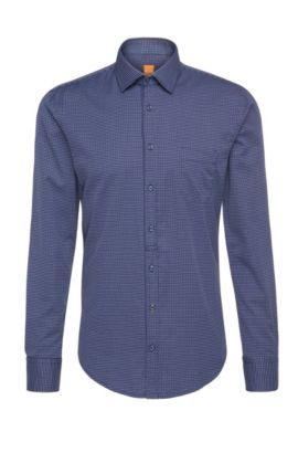 Finely patterned slim-fit cotton shirt: 'EslimE1', Dark Blue