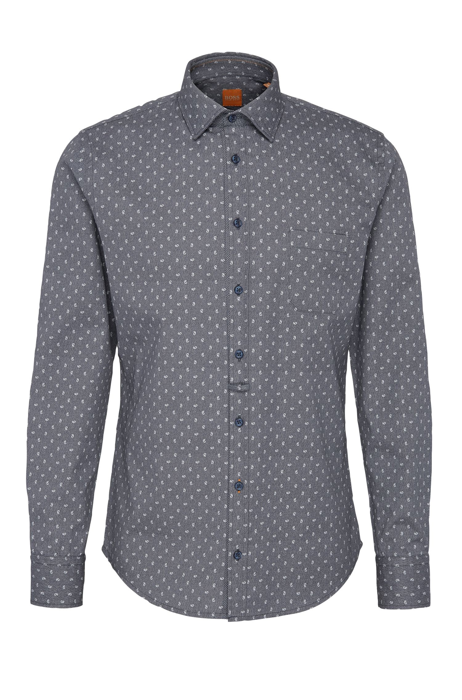 Slim-fit overhemd van gestructureerde katoen met dessin: 'EslimE_1'