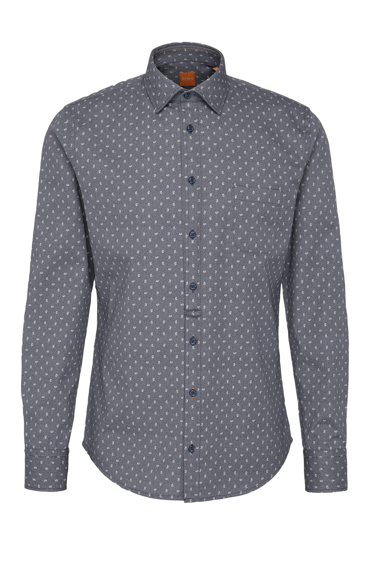 Chemise Slim Fit à motif, en coton texturé: «EslimE_1»