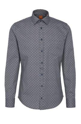 Chemise Slim Fit à motif, en coton texturé: «EslimE_1», Bleu foncé