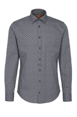 Slim-fit overhemd van gestructureerde katoen met dessin: 'EslimE_1', Donkerblauw