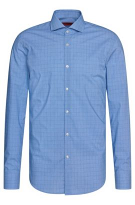 Finely checked slim-fit shirt in cotton: 'C-Jason', Blue
