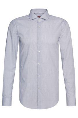 Camisa slim fit con finas rayas en algodón fácil de planchar: 'C-Jason', Azul oscuro