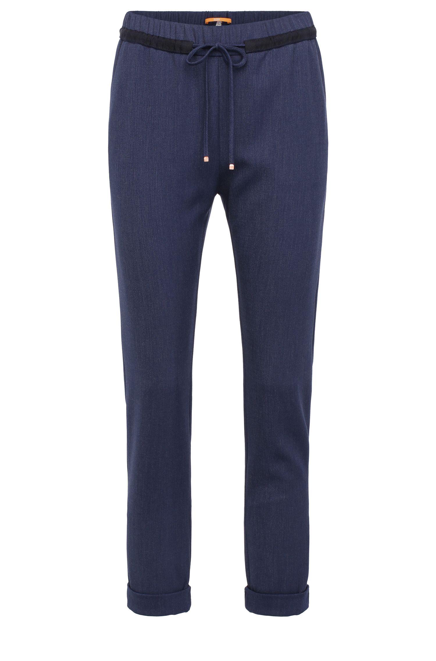Pantalon en mélange de matières extensible, avec cordon de serrage: «Sadotty»