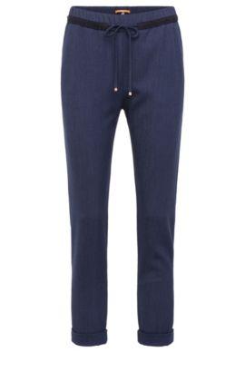 Pantalon en mélange de matières extensible, avec cordon de serrage: «Sadotty», Bleu foncé