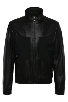 Leather jacket in bomber jacket style: 'Jorgen', Black