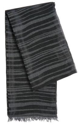 Écharpe à rayures en viscose mélangée, avec du coton: «Women-Z 535», Noir