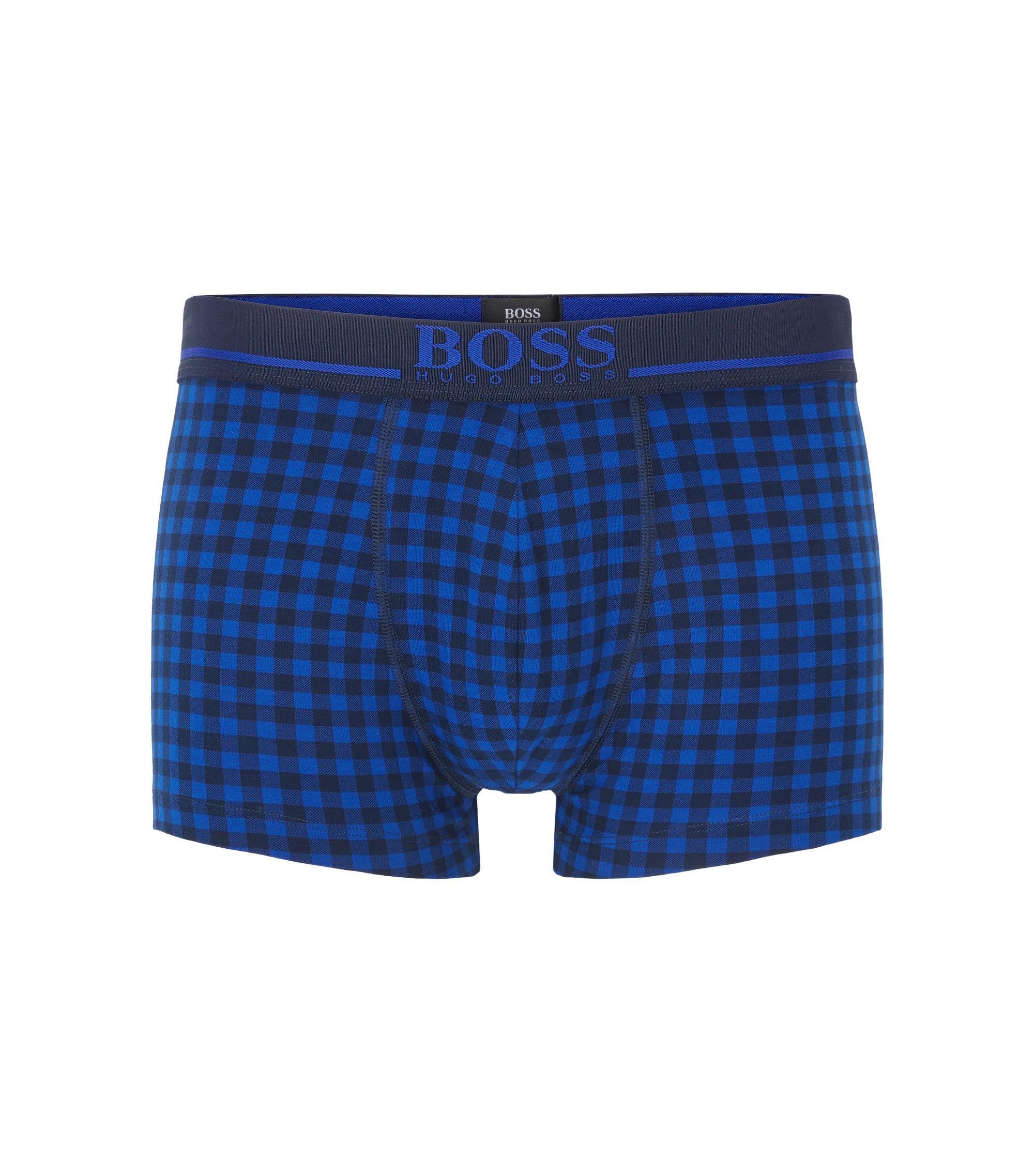 Boxershorts aus Stretch-Baumwolle mit Logo-Bund, Blau