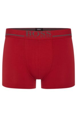 Regular-rise stretch-cotton trunks with logo detail, Red