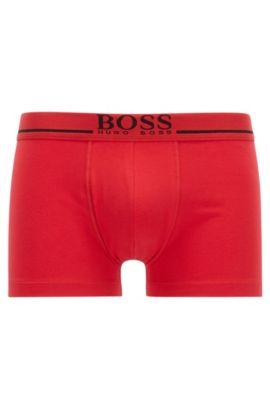 Boxer con vita ad altezza normale in cotone elasticizzato con logo, Rosso