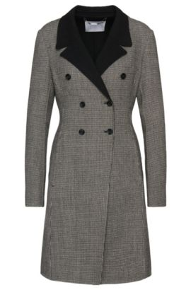 Coat in stretchy wool blend with houndstooth pattern: 'Cucina1', Patterned
